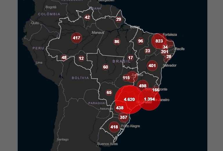Apenas Acre e Tocantins não possuem caso de morte pela Covid-19 no país