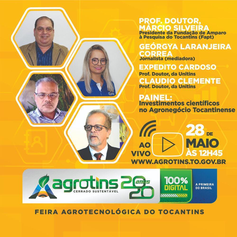 Assista live sobre pesquisas científicas na área do agronegócio tocantinense na Agrotins 2020 100% Digital