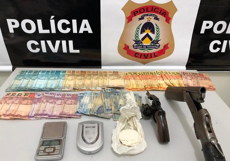 Polícia Civil apreende drogas, armas de fogo e prende três traficantes em Lagoa da Confusão