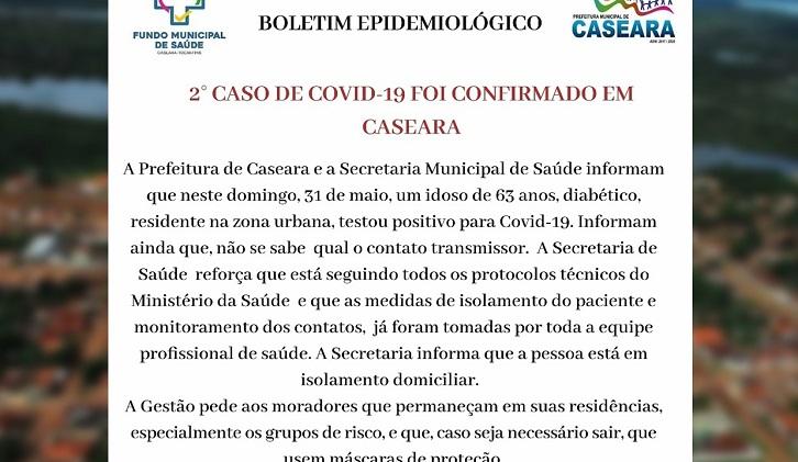 Caseara confirma segundo caso de Covid-19 na cidade