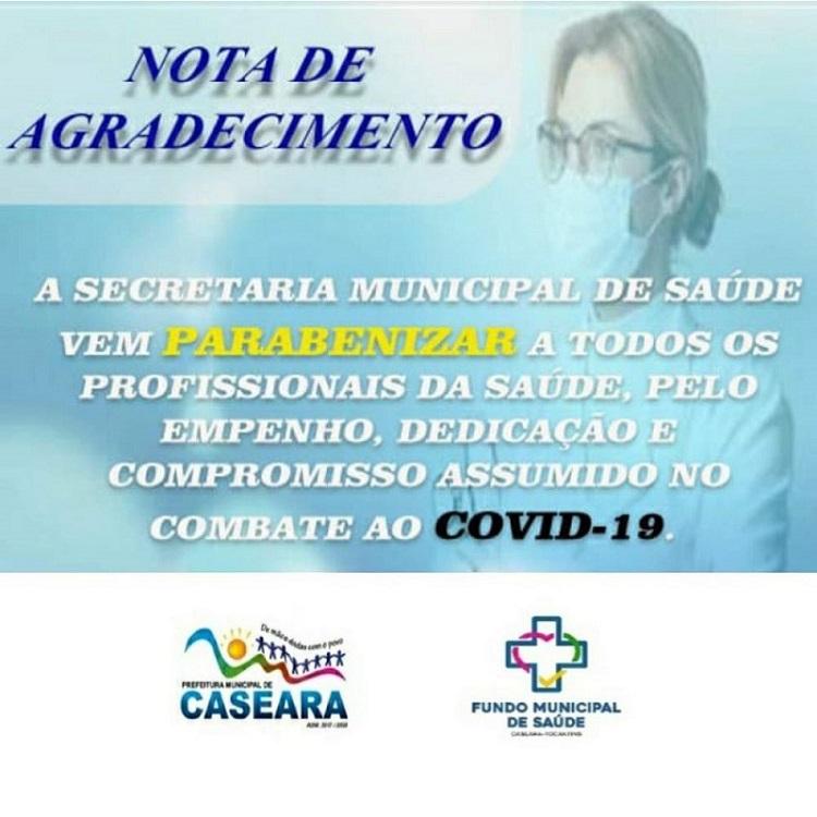 Prefeitura de Caseara divulga nota de agradecimento aos profissionais de saúde pela luta contra o novo coronavírus