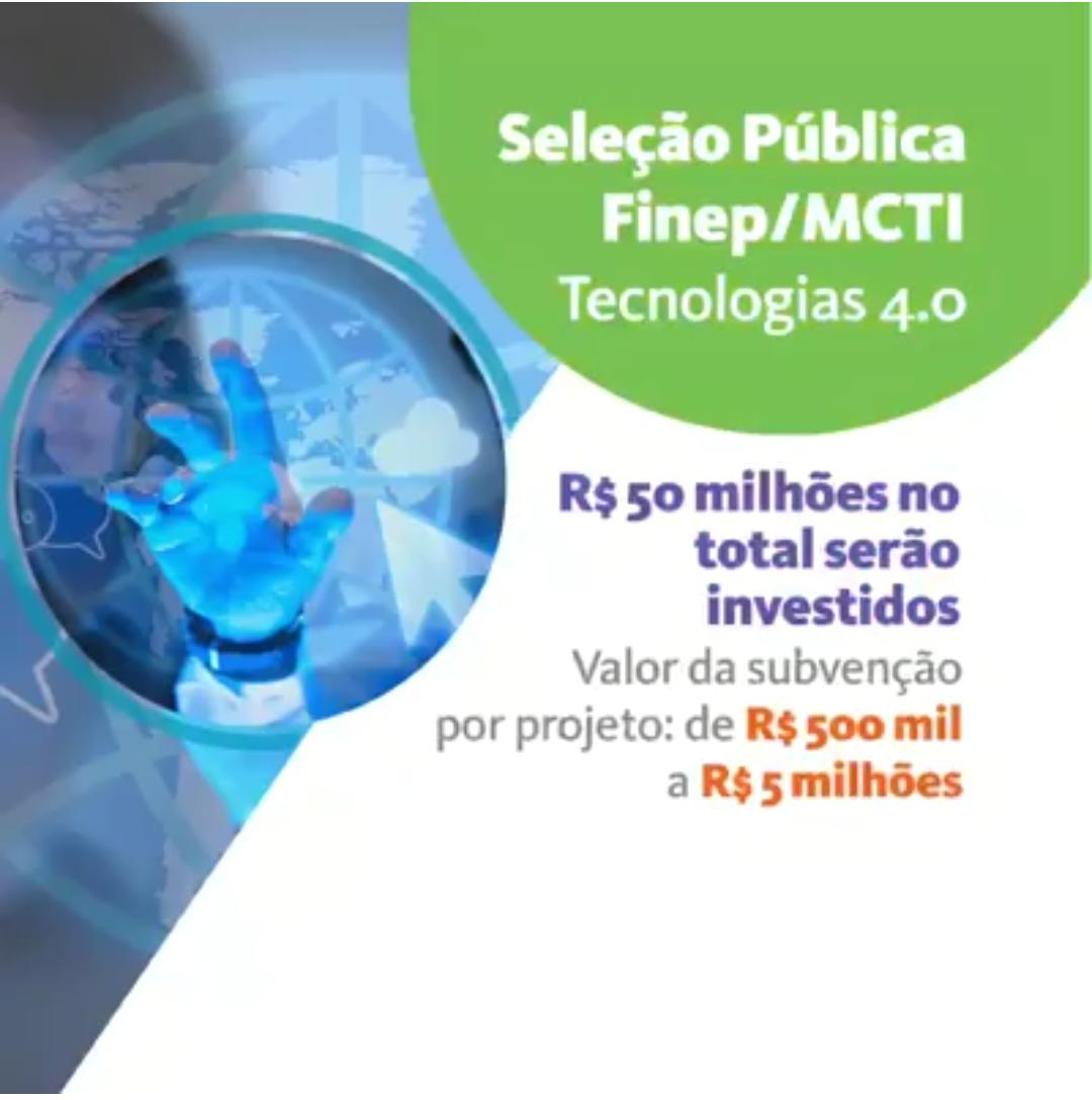 R$ 50 milhões são destinados para projetos de inovação e tecnologias 4.0