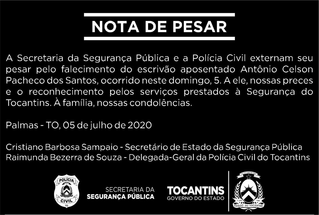 SSP e Polícia Civil externam pesar pelo falecimento do escrivão Antônio Celson Pacheco dos Santos