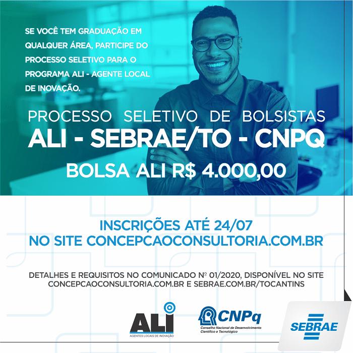 Sebrae Tocantins seleciona bolsistas do programa Agente Local de Inovação (ALI)