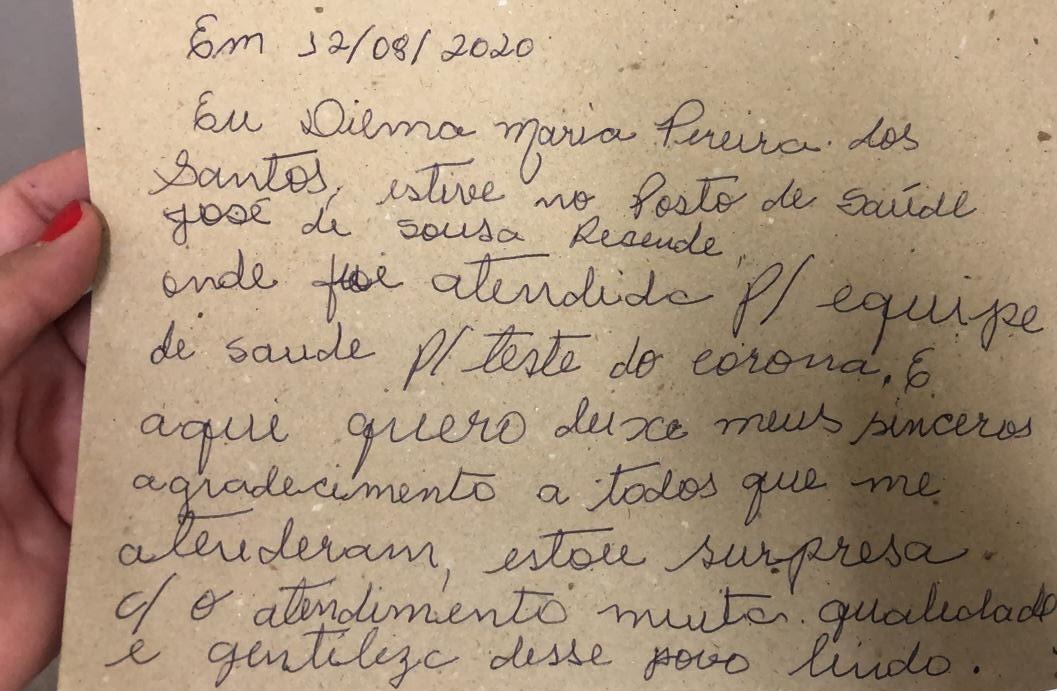 Paciente deixa bilhete de agradecimento por carinho da equipe de saúde em Araguaína