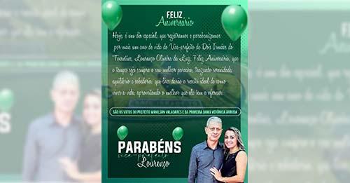 Prefeito de Dois Irmãos felicita vice-prefeito Lourenço por ocasião do seu aniversário