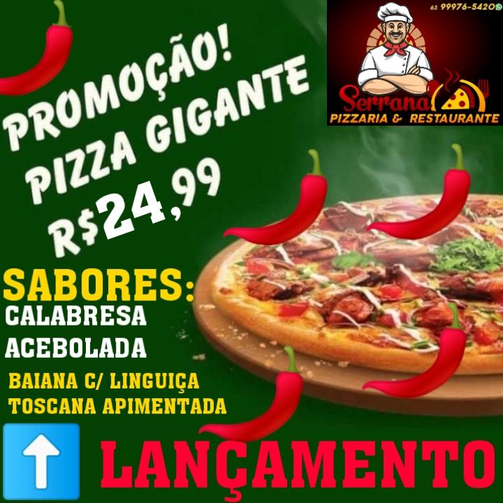 Pizzaria Serrana lança dois novos sabores com preço promocional para tamanhos gigantes