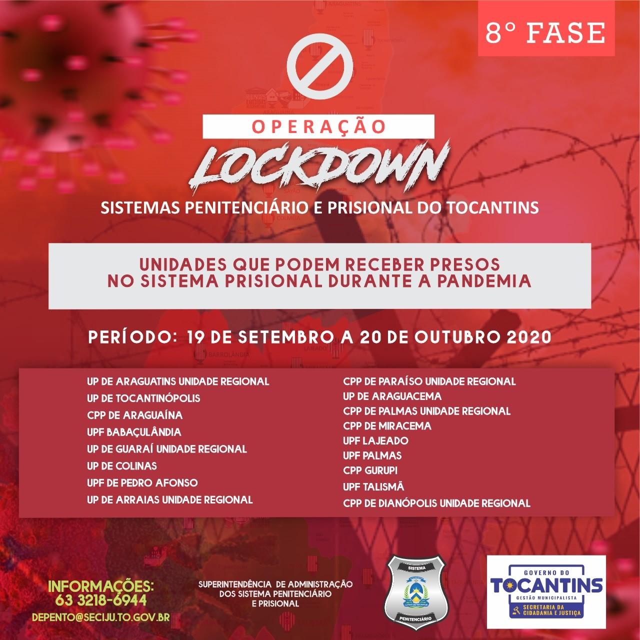 Sispen/TO deflagra oitava fase da Operação Lockdown definindo unidades penais que receberão presos durante a pandemia