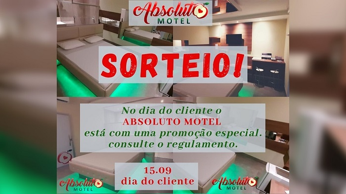 Participe do sorteio no Instagram oficial do Absoluto Motel