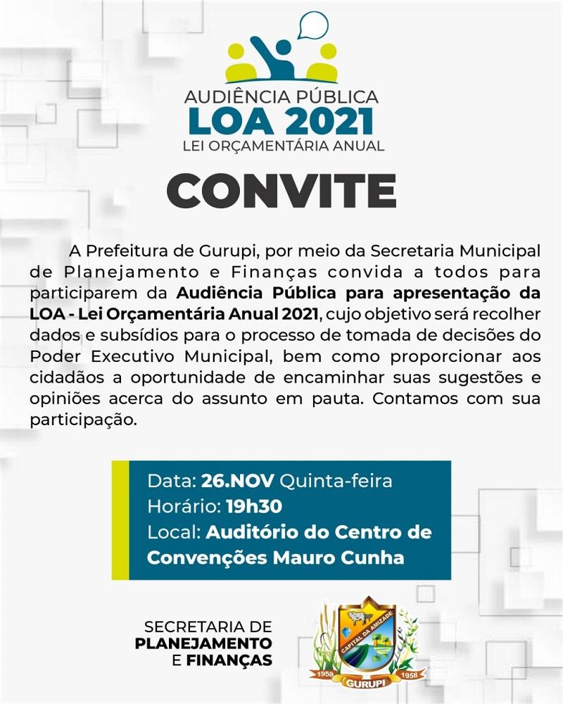 Prefeitura de Gurupi realiza audiência pública sobre a LOA 2021