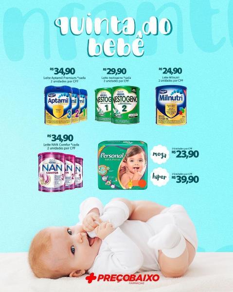 Farmácia Preço Baixo de Paraíso promove 'Quinta do Bebê'; Confira as ofertas
