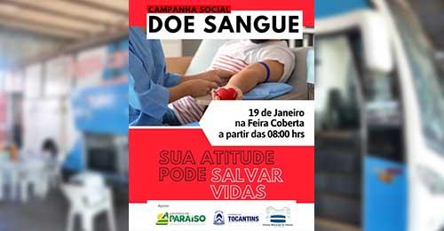 Hemocentro atenderá doadores de sangue de Paraíso nesta terça, 19