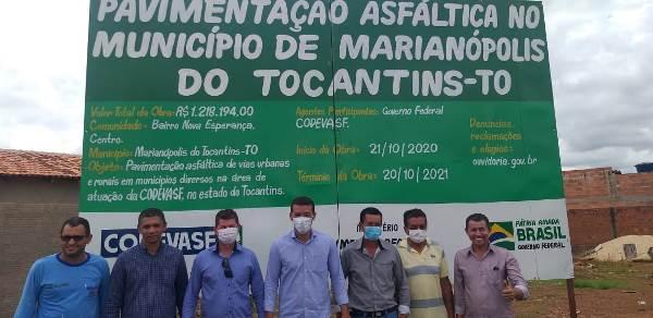 Obra de pavimentação beneficiará centro e bairro Nova Esperança em Marianópolis