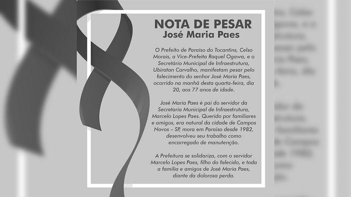 Prefeitura de Paraíso lamenta falecimento do senhor José Maria Paes