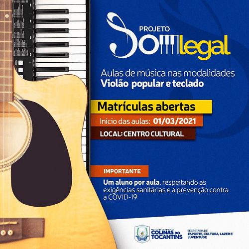 """Projeto """"Som Legal"""" da prefeitura de Colinas abre inscrições para aulas de violão e teclado"""