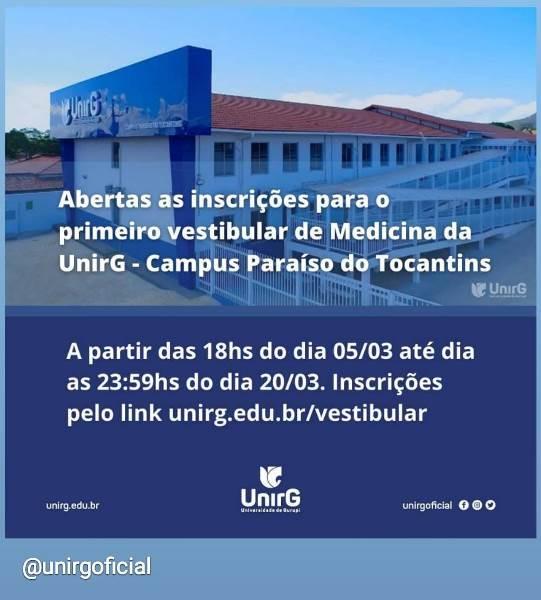 UnirG abre inscrições para o 1º vestibular de Medicina do campus Paraíso
