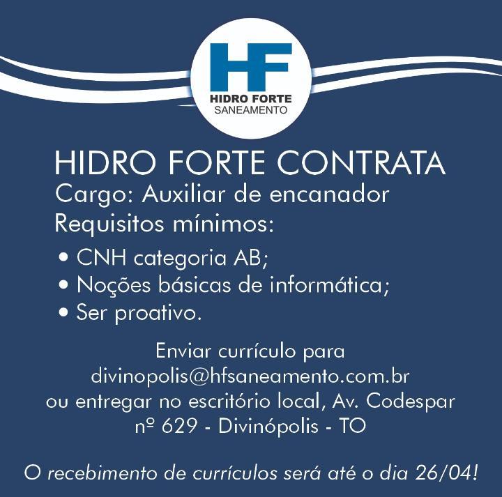 Concessionária contrata auxiliar de encanador para trabalhar em Divinópolis do TO