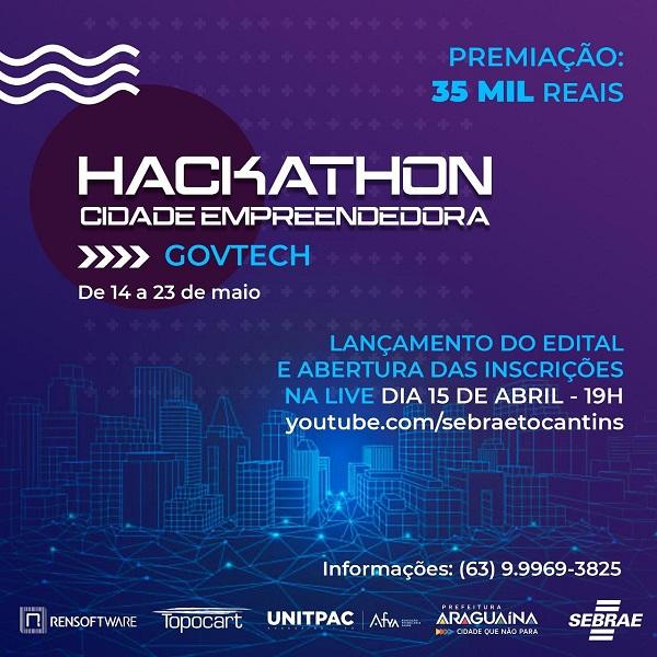 Sebrae TO realiza live de lançamento de edital do Hackathon Cidade Empreendedora