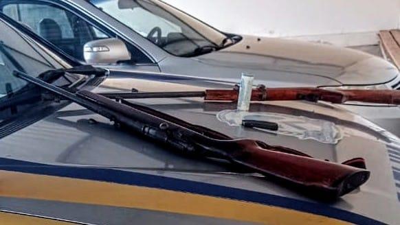 Forças de Segurança apreendem três armas de fogo com suspeitos de praticar violência doméstica em Nova Olinda