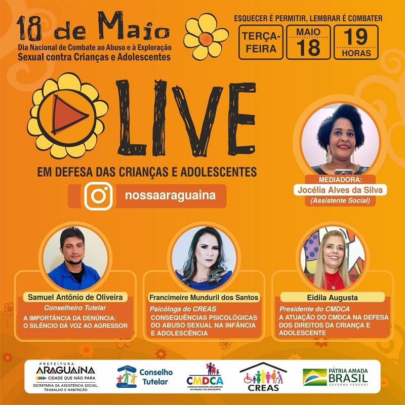 Profissionais discutem em live violência contra crianças e adolescentes em Araguaína