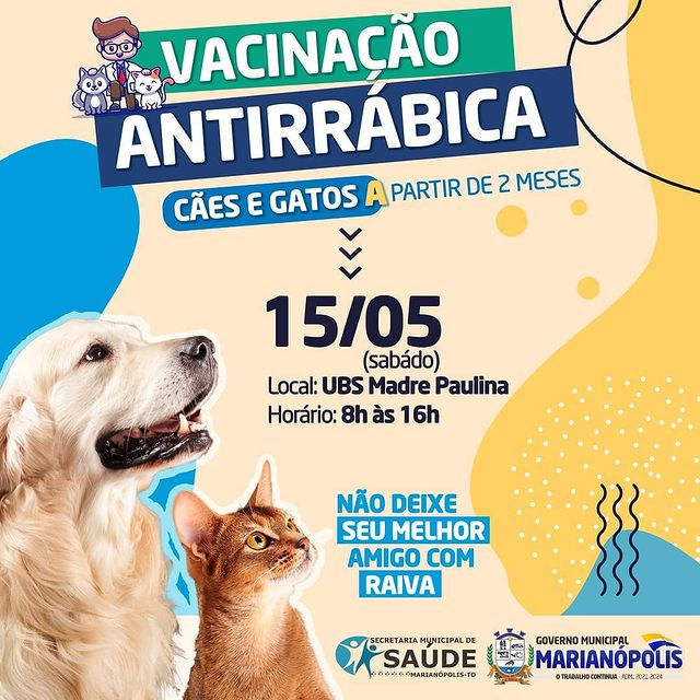 Saúde de Marianópolis anuncia vacinação antirrábica de cães e gatos