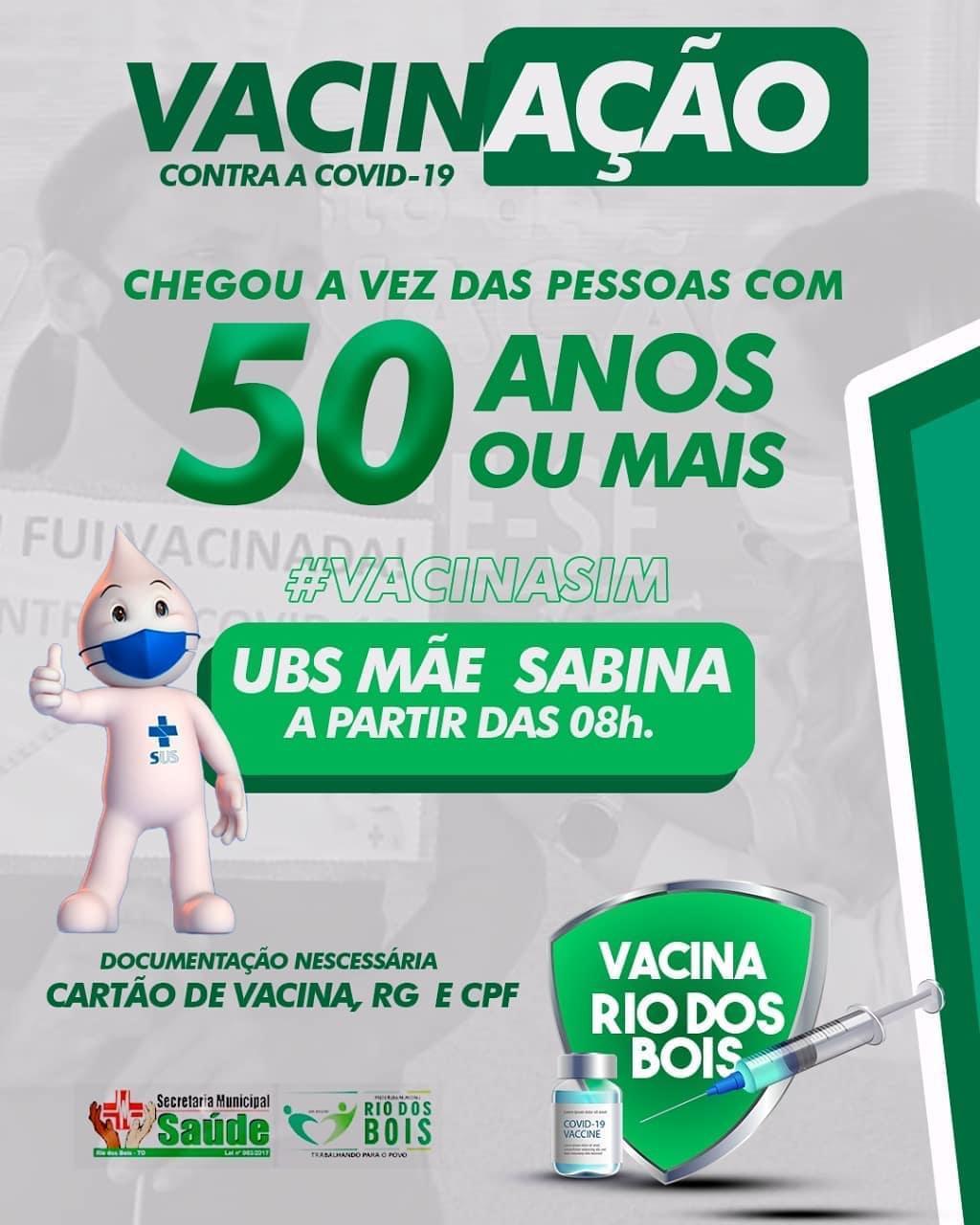 Covid-19: Rio dos Bois amplia vacinação para todos a partir de 50 anos