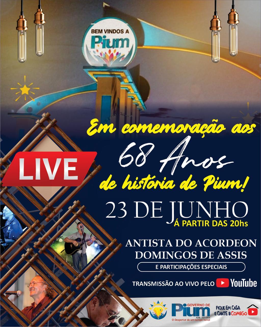 Prefeitura de Pium promove live em comemoração ao 68º aniversário do município