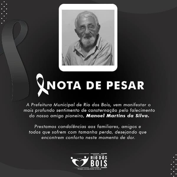 Prefeitura de Rio dos Bois manifesta pesar pela morte de cidadão pioneiro