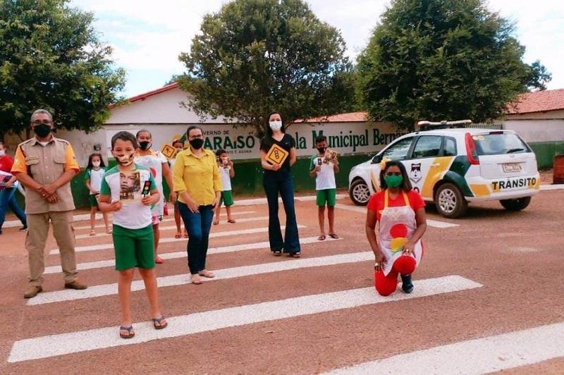 Alunos de Setor Santana, em Paraíso, participam de palestra com dicas de segurança no trânsito