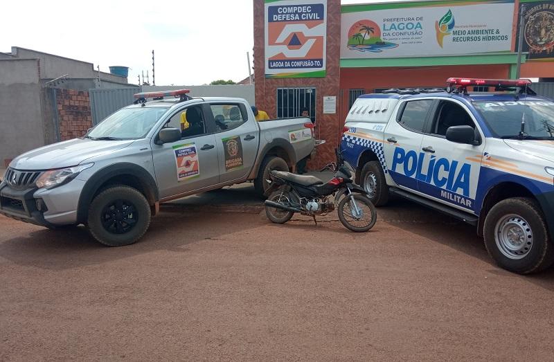 Operação conjunta entre 4ª CIPM e Defesa Civil de Lagoa da Confusão prende suspeito de furtar motocicleta