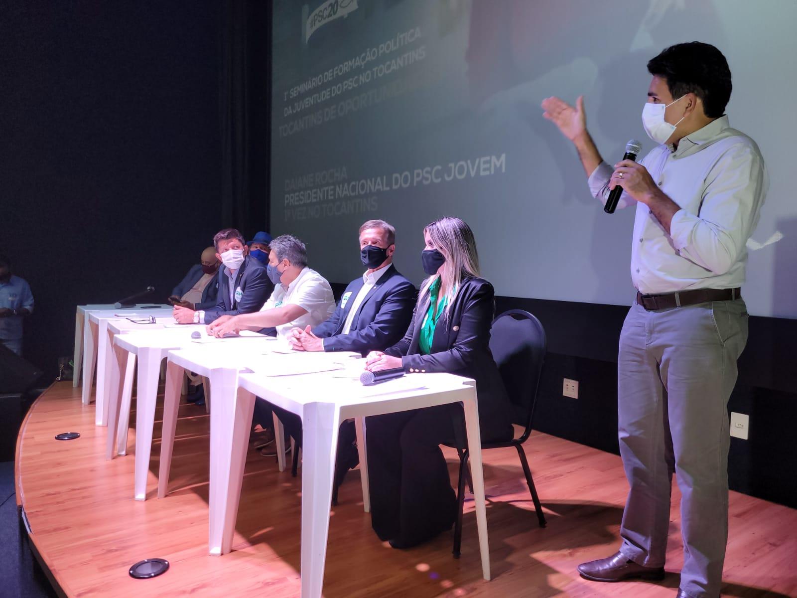 Júnior Geo e Elenil da Penha declaram apoio à pré-candidatura de Osires Damaso durante Seminário de Formação Política do PSC-TO