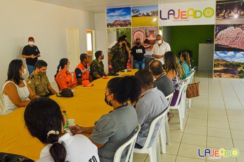 Prefeito Júnior Bandeira participa de reunião para discutir sobre o Exercício de Rompimento de Barragem, em Lajeado