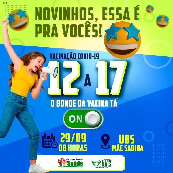 Saúde de Rio dos Bois amplia vacinação contra a Covid-19 para adolescentes