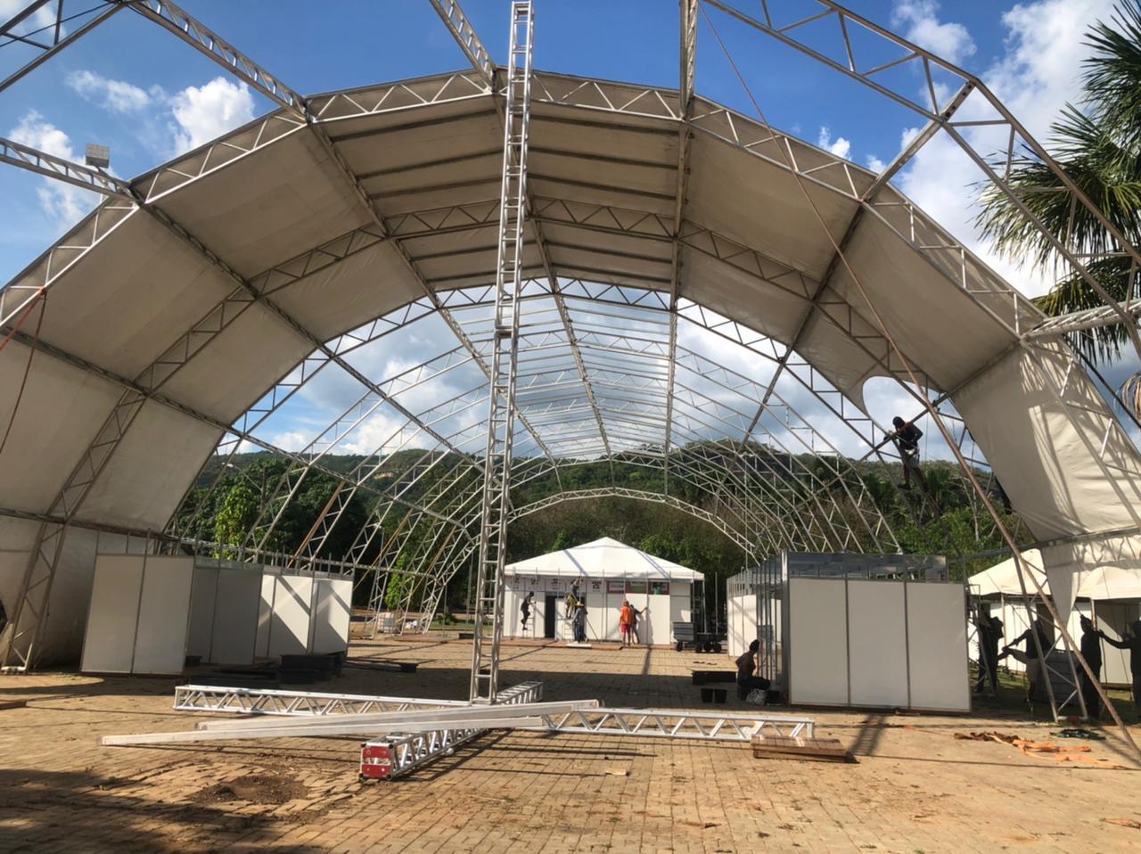 Palcos e tendas do 15º FGT já estão sendo montados em Taquaruçu