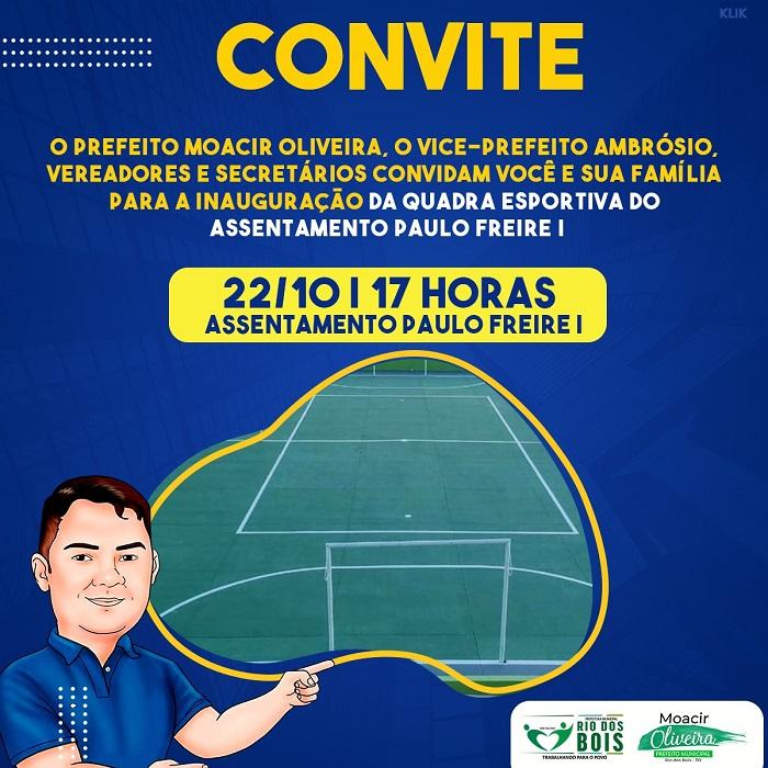 Prefeito convida população de Rio dos Bois para inauguração de quadra poliesportiva do assentamento Paulo Freire I