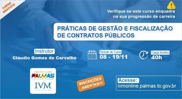 IVM abre inscrições para qualificação em 'Práticas de Gestão e Fiscalização de Contratos Públicos' em Palmas