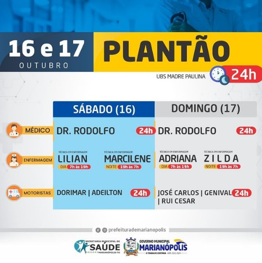 Plantão na UBS Madre Paulina garante atendimento 24h no fim de semana em Marianópolis