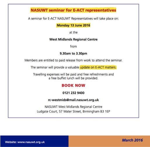 NASUWT Seminar on E-ACT Employment Issues