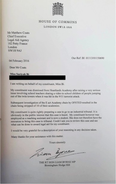 Letter to Chief executive of Legal Aid Agency