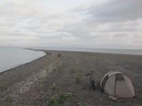 Camping sur une bande de sable, Lac Nicaragua
