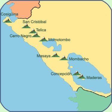 The itinerary of my dream would go from North western Cosiguina volcano to South eastern Maderas volcano in the middle of Nicaragua Lake
