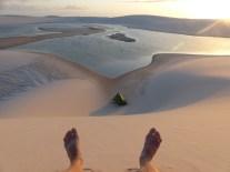 Du haut de la dune, mon spot de campement est top