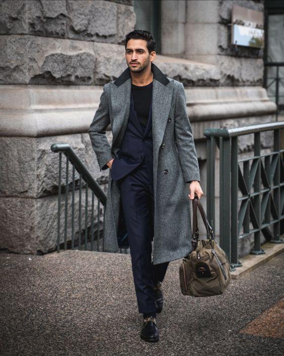 Grey Herringbone Tailored Overcoat