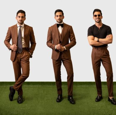 eco-friendly brown suit with a tie, bowtie and t-shirt