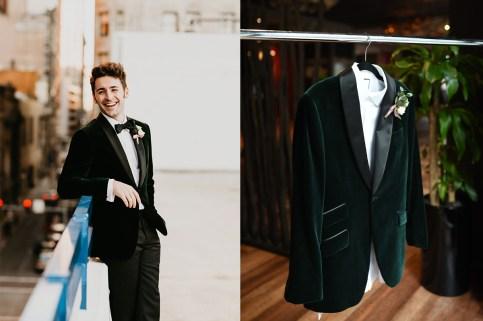 man wedding tuxedo green velvet