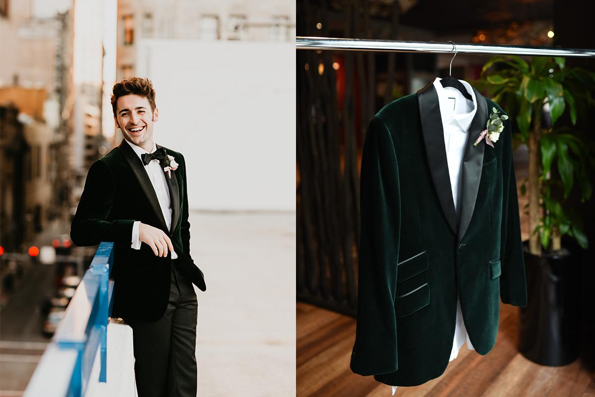 custom velvet wedding tuxedo