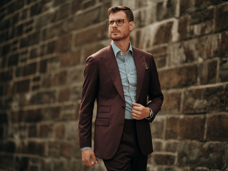 business professional attire stand out burgundy suit