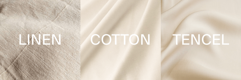 Examples of linen, cotton and tencel fabrics