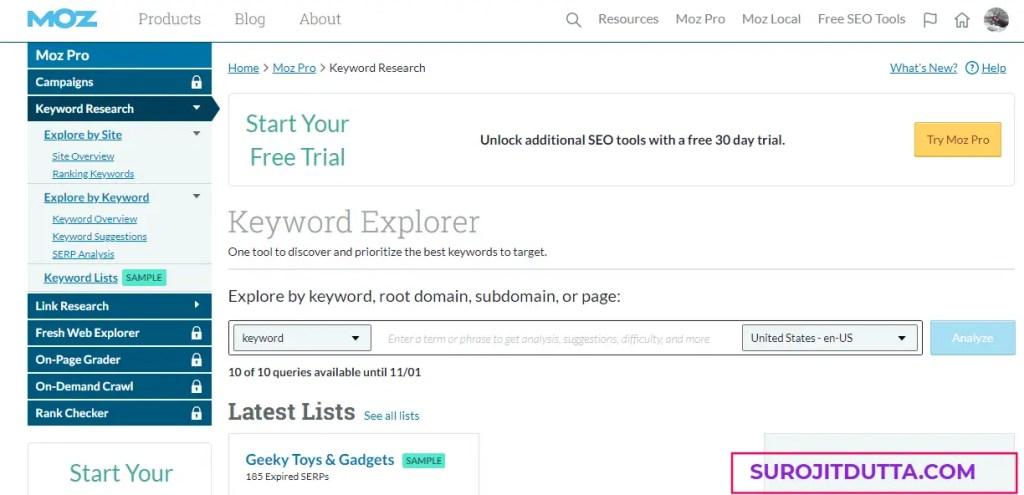 Moz Tools- Free Keyword Research Tools