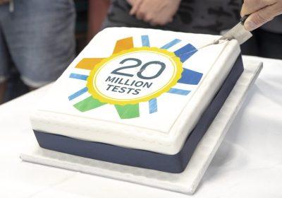 Cake celebrating 20 million tests delivered through Surpass